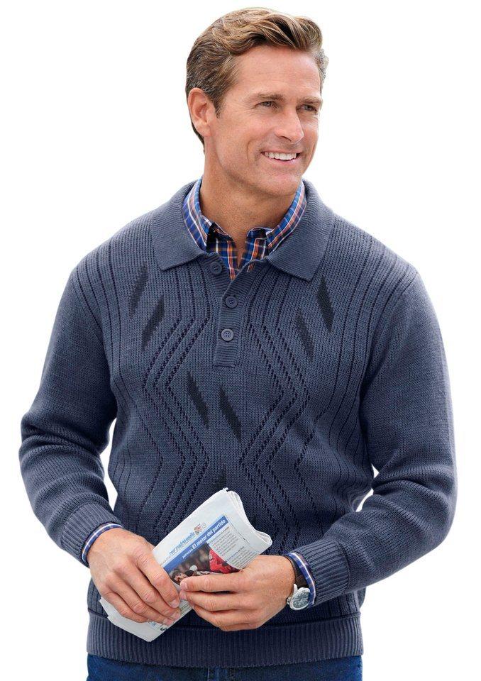 Pullover mit Jacquardmuster in jeansblau