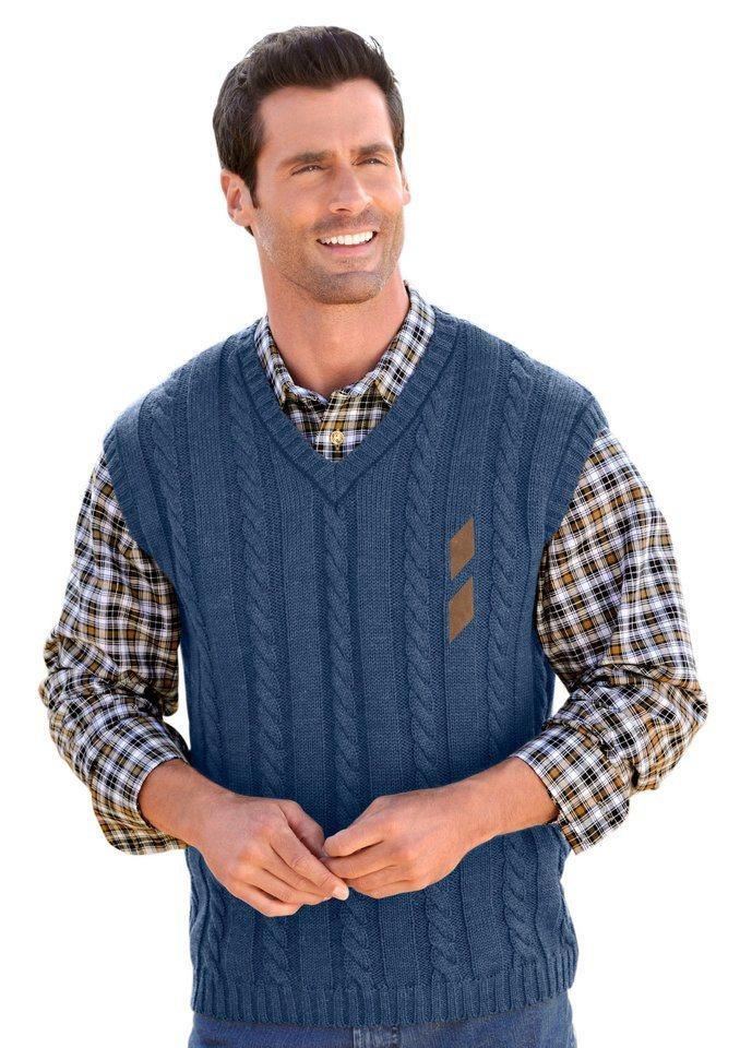 Classic Pullunder mit Zopfmuster in jeansblau