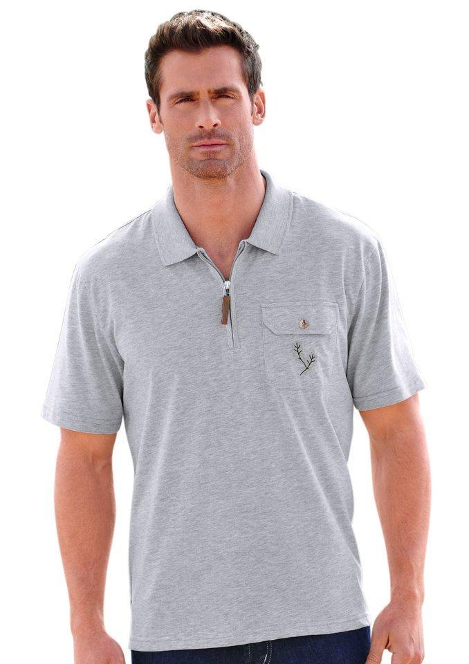 J.Witt collection Shirt mit Stickerei in grau-meliert