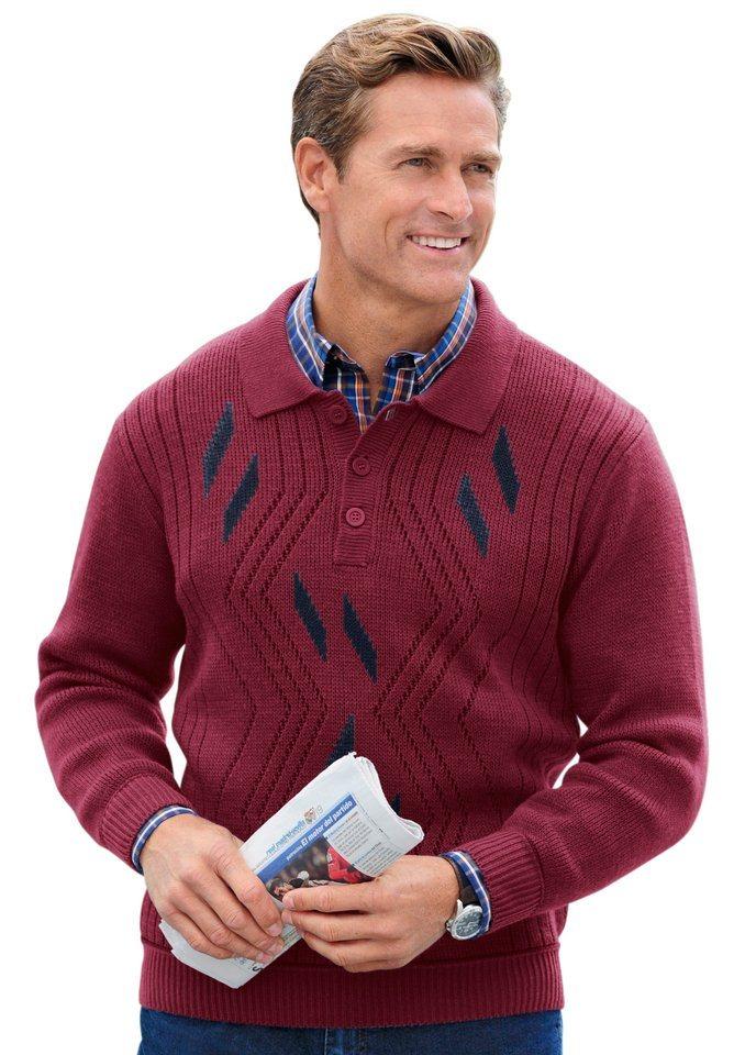 Pullover mit Jacquardmuster in bordeaux