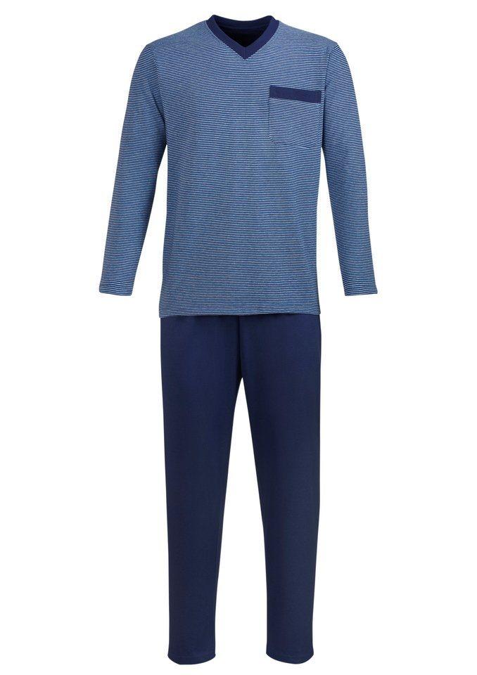 Schlafanzug in jeansblau-meliert