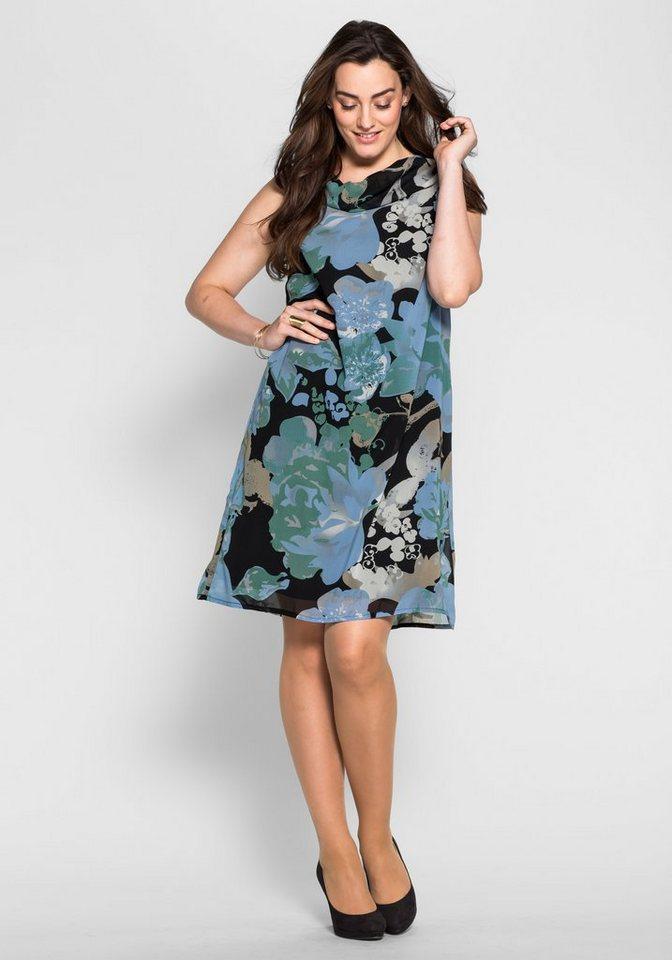 sheego Style Kleid mit Wasserfallausschnitt in blau-schwarz