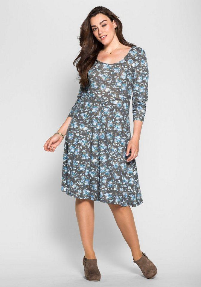 sheego Style Kleid mit Alloverdruck in grau-blau