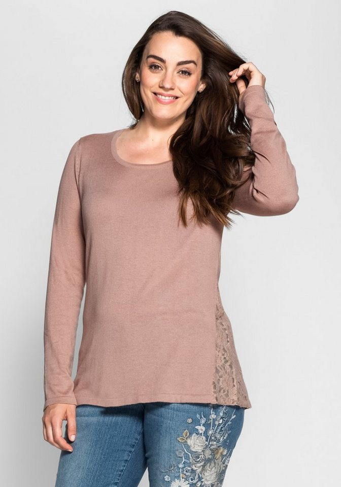 sheego Style Pullover mit Spitze in puderrosé