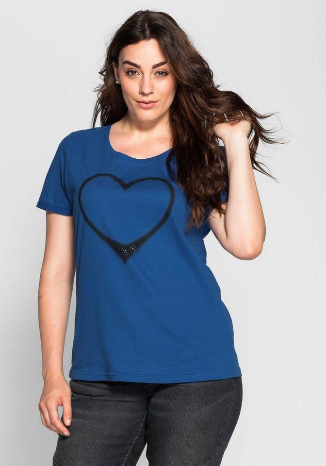 sheego Casual T-Shirt mit Herz-Frontdruck in indigo