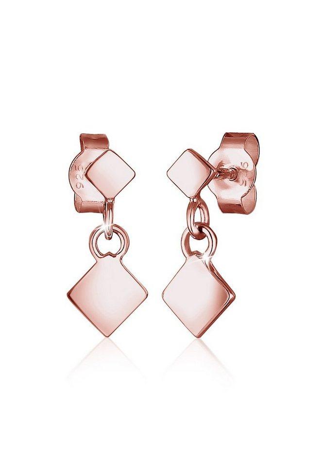 Elli Ohrringe »Viereck Geo 925 Silber rosé vergoldet« in Rosegold