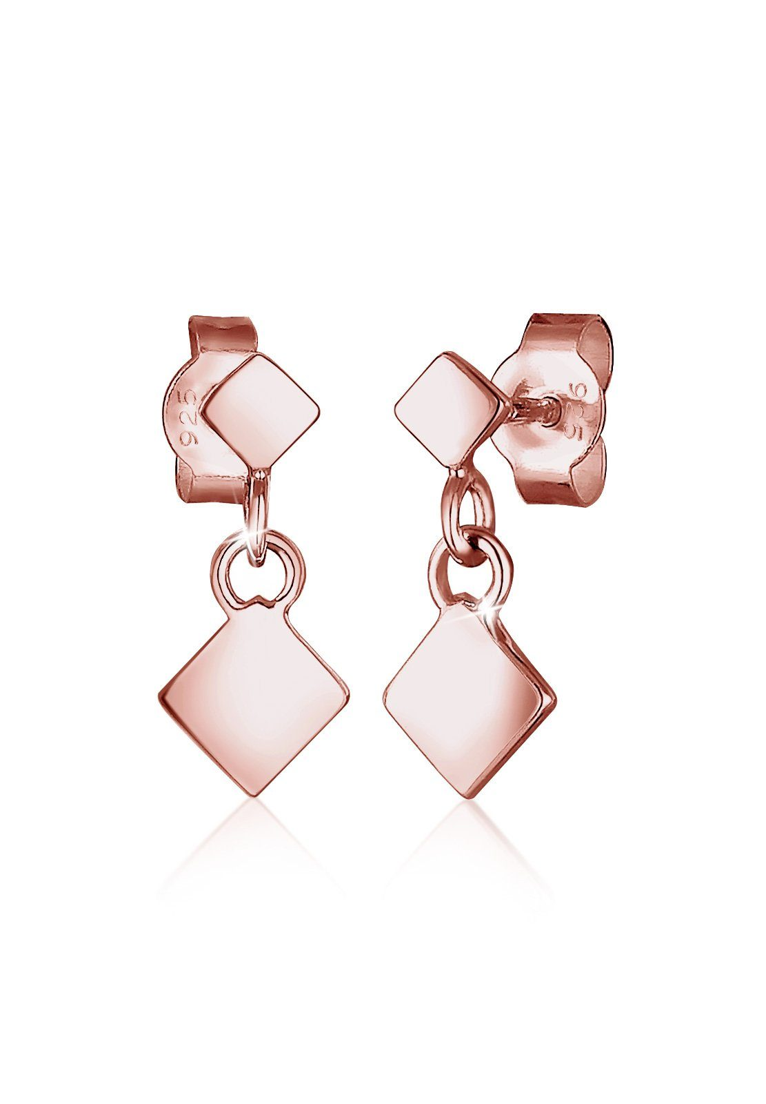 Elli Ohrringe »Viereck Geo 925 Silber rosé vergoldet«