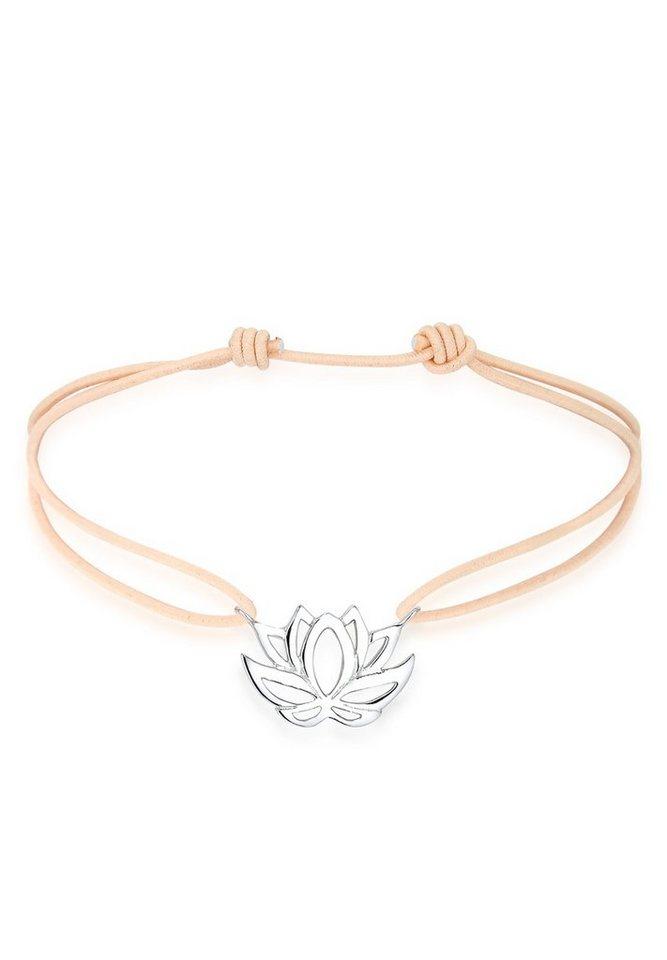 Elli Armband »Talisman Blume Lotusblüte 925 Silber elastisch« in Braun
