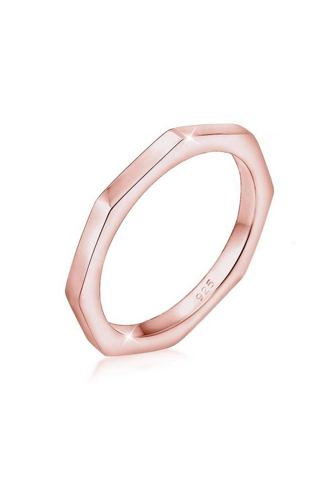 Elli Ring »Hexagon Geo Minimal 925 Silber rosé vergoldet« in Rosegold