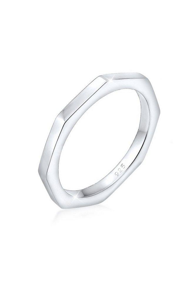 Elli Ring »Hexagon Geo Minimal 925 Silber« in Silber
