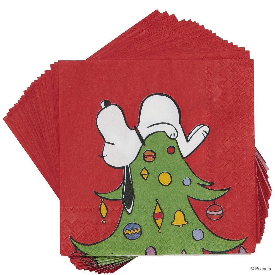 BUTLERS PEANUTS »Papierserviette Snoopy auf Baum« in rot