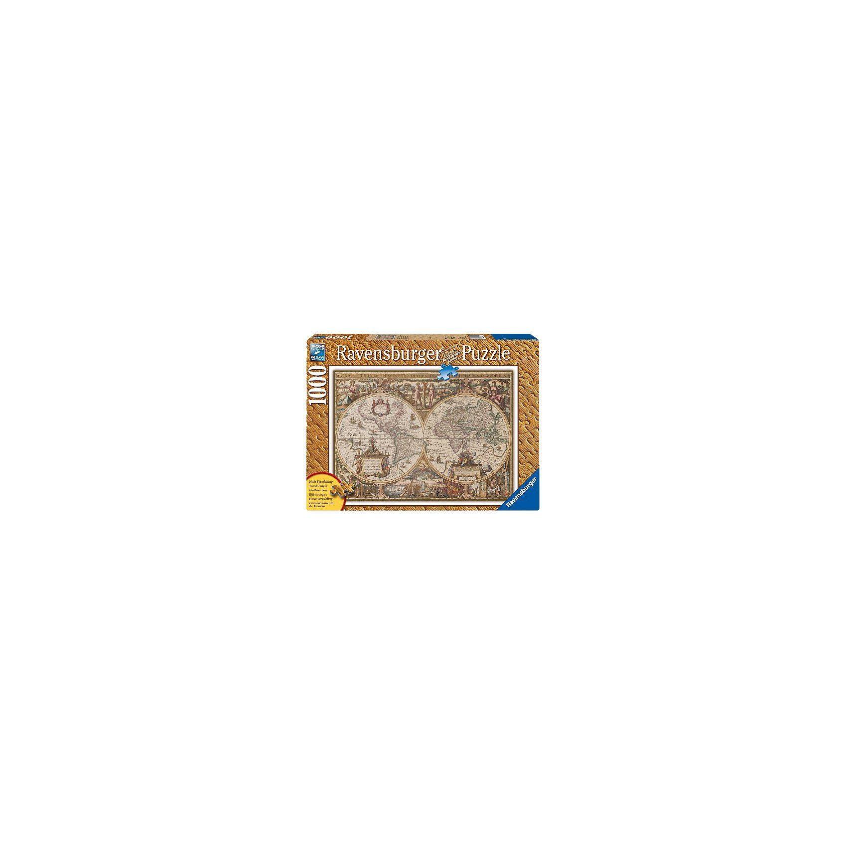 Ravensburger Antike Weltkarte - 1000 Teile Holzstruktur Puzzle