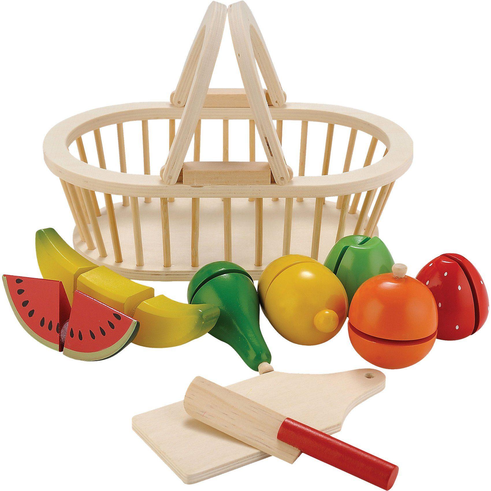 Eitech Schneide-Set Spiellebensmittel im Holzkorb