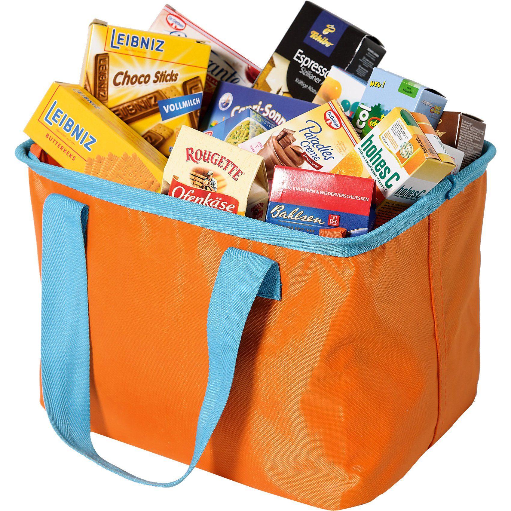 Chr. Tanner Einkaufskorb Tasche, orange, gefüllt