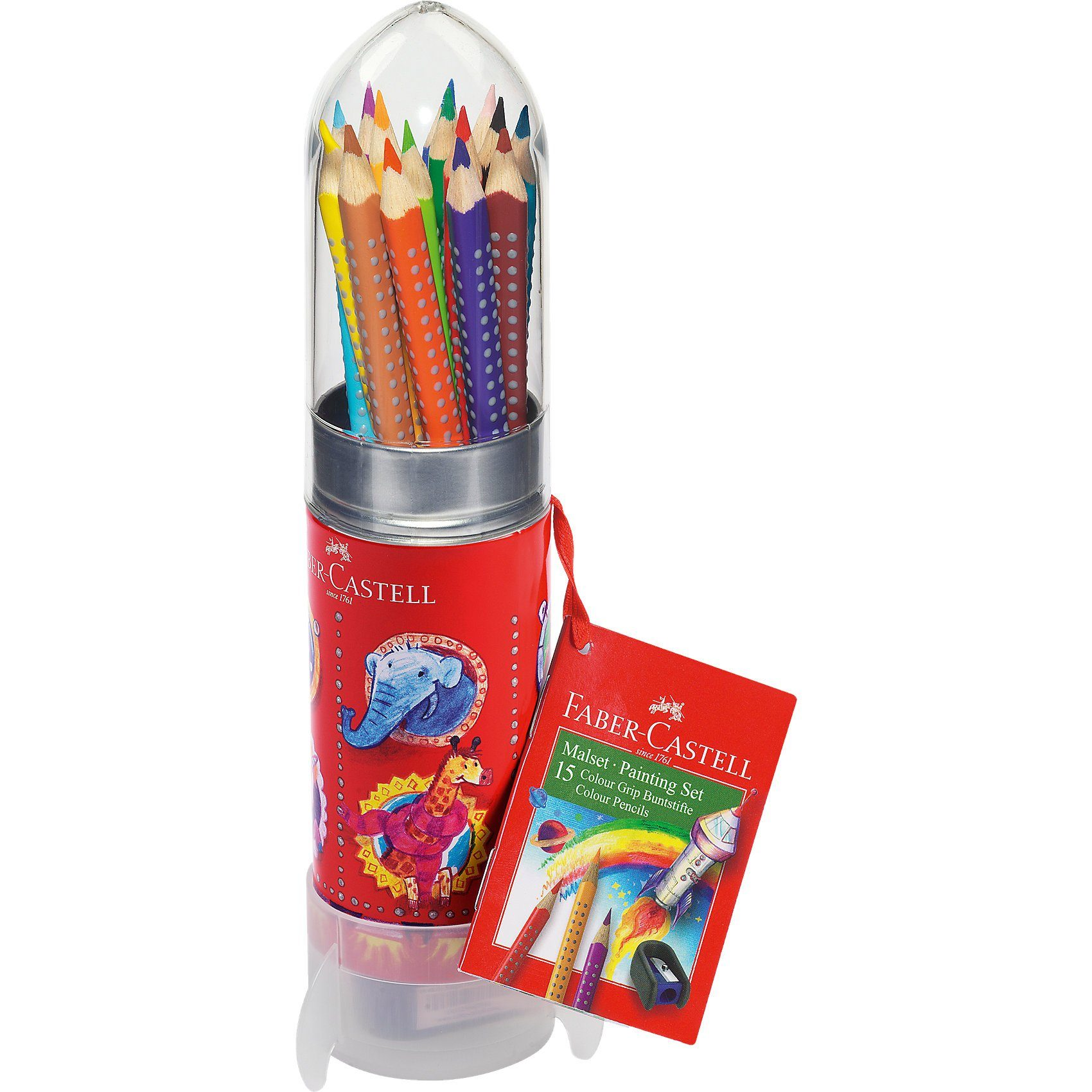 Faber-Castell COLOUR GRIP Malset Rakete, 15 Buntstifte, inkl. Spitzer