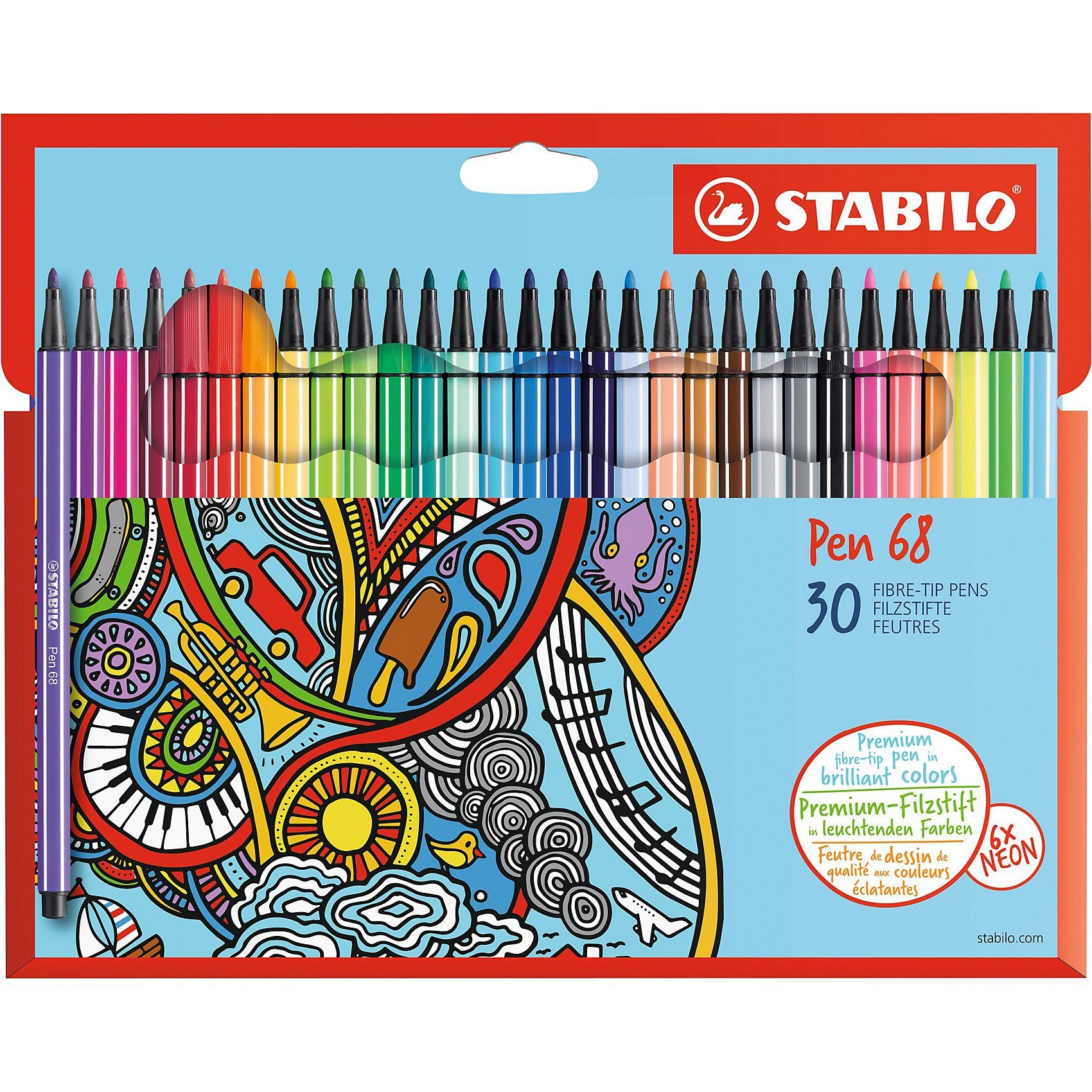 Stabilo-Pen 68 Fasermaler 20er Etui Fibre Tip Wallet 20 Colours