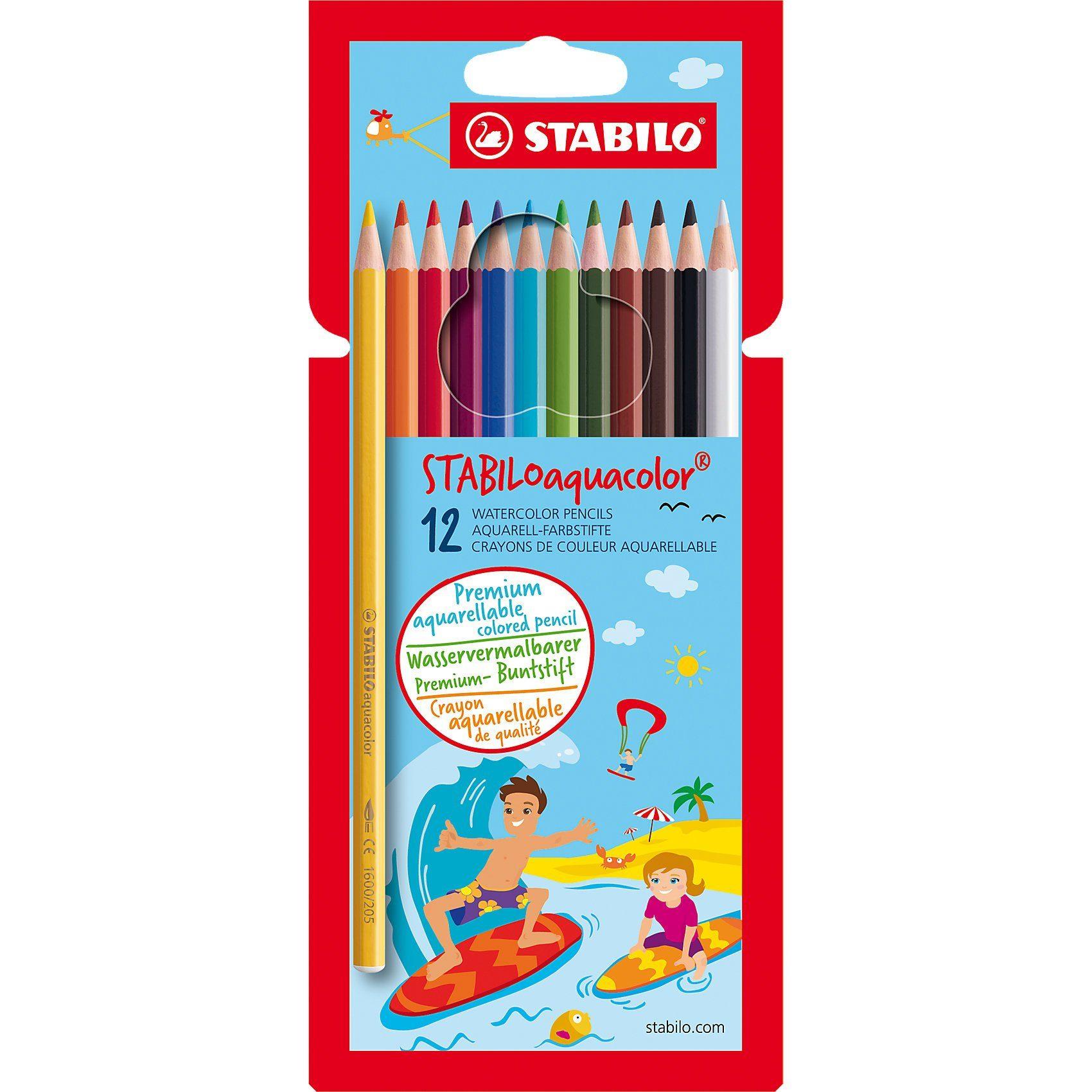 Stabilo Buntstifte aquacolor, wasservermalbar, 12 Farben