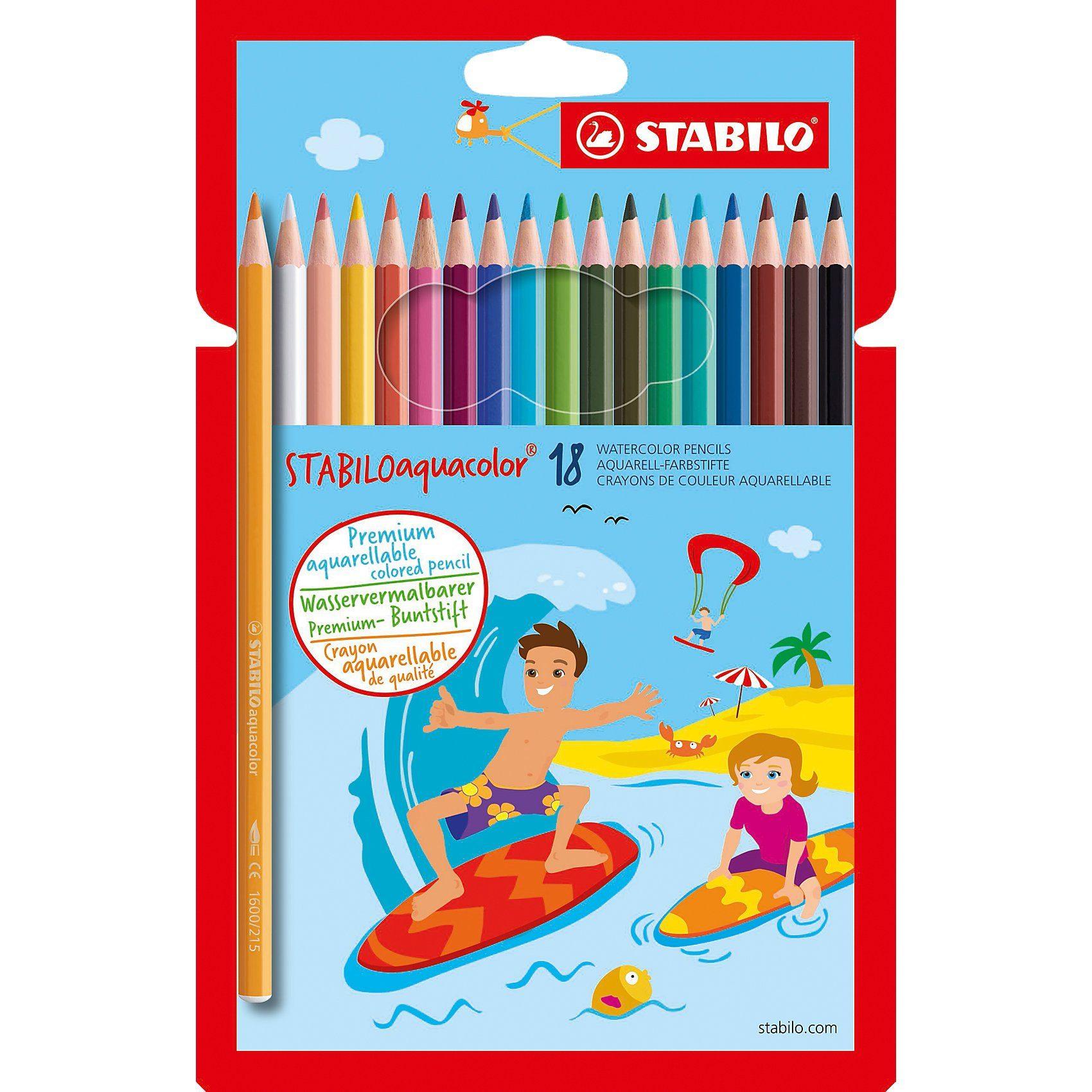 Stabilo Buntstifte aquacolor, wasservermalbar, 18 Farben