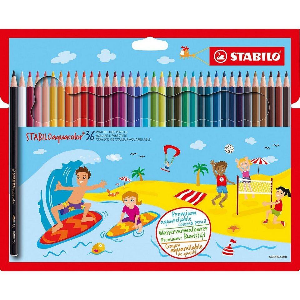 Stabilo Buntstifte aquacolor, wasservermalbar, 36 Farben