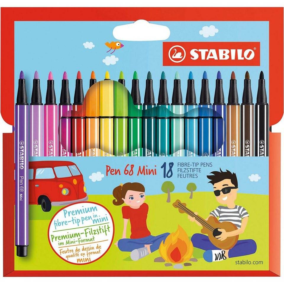 Stabilo Filzstifte Pen 68 mini, 18 Farben