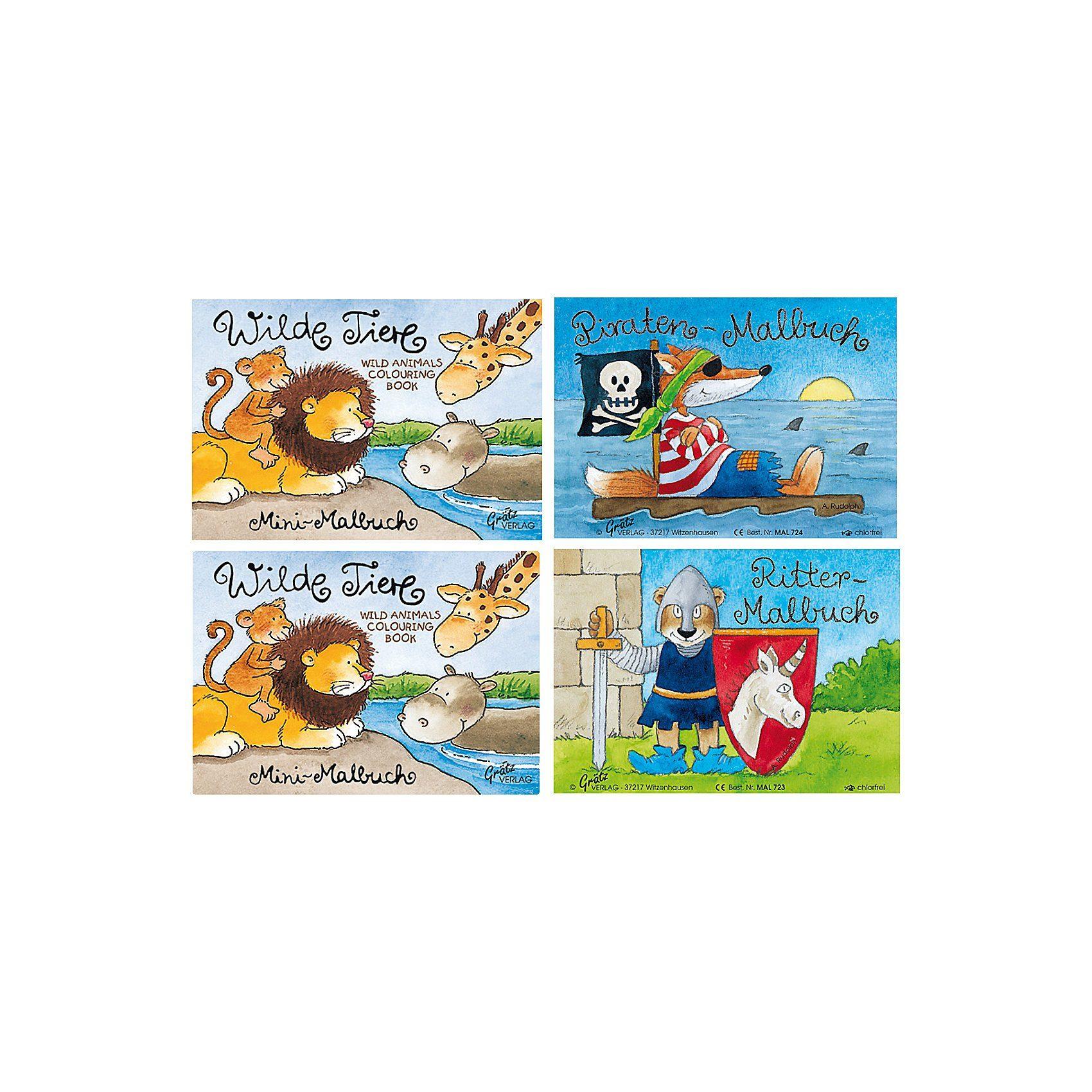 Grätz Verlag Mini-Malbuch Jungen, 4 Stück
