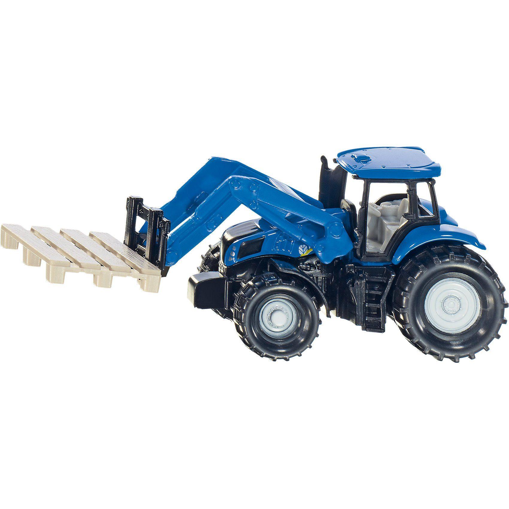 SIKU 1487 New Holland Traktor mit Palettengabel und Palette