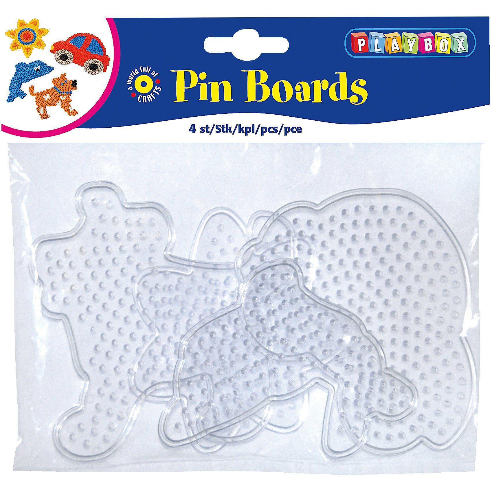 Playbox Bügelperlen Steckplatten, 4 Stück - Hund, Auto, Fisch, Blume