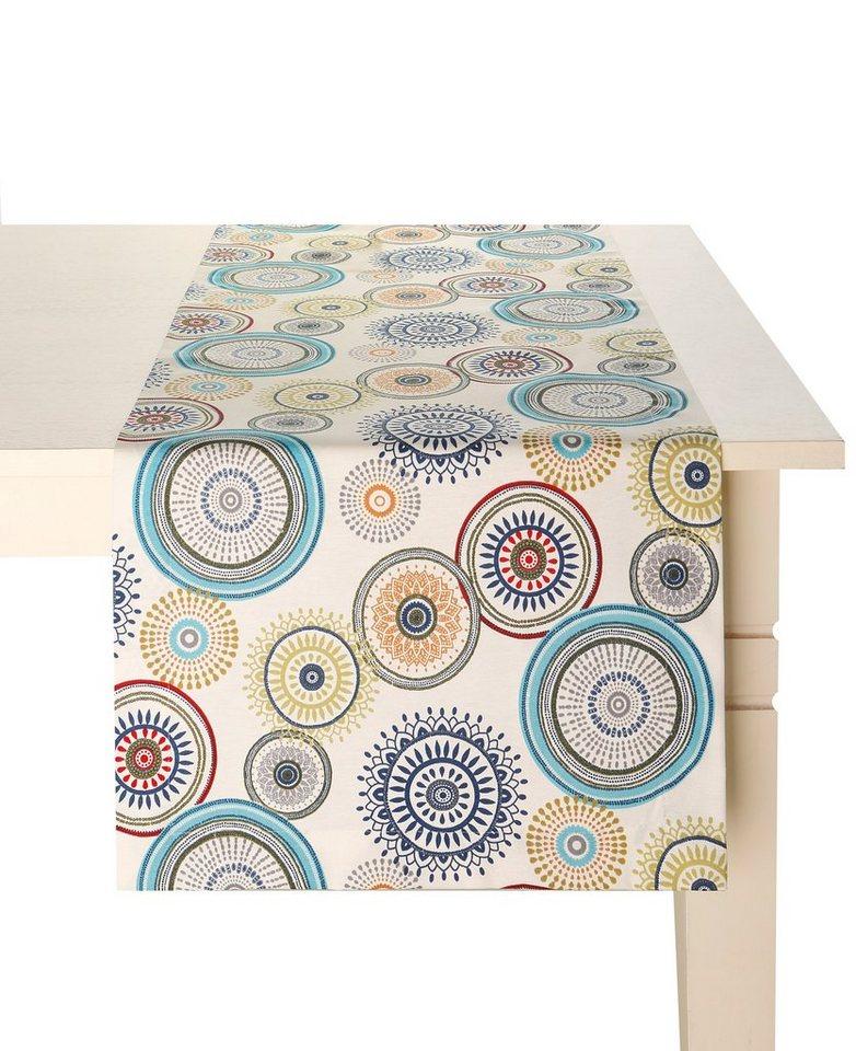 Tischdecke in weiß/petrol/blau/braun