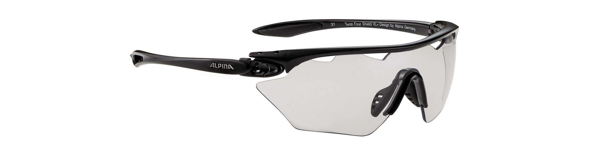 Alpina Radsportbrille »Twist Four Shield VL+ black/black«