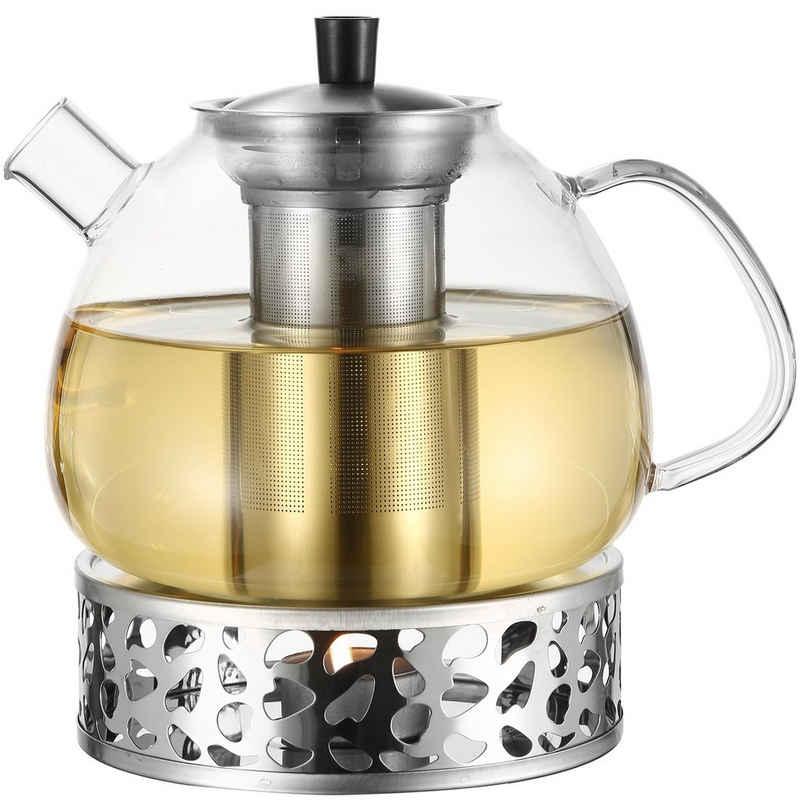 Cosumy Teekanne »Teekanne mit STÖVCHEN«, 1,5 l, (Set), Cosumy 1500ml Teekanne Glas mit Stövchen Set in Geschenkbox - Edelstahl Siebeinsatz - Spülmaschinenfest