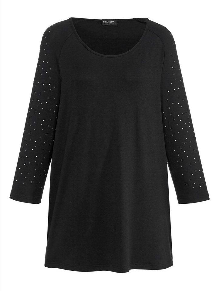MIAMODA Shirt mit Ziersteinchen in schwarz