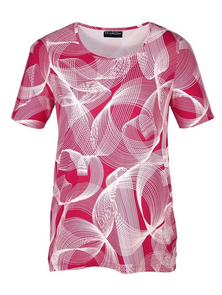 MIAMODA Longshirt mit modischem Grafikdruck in pink/weiß/schwarz