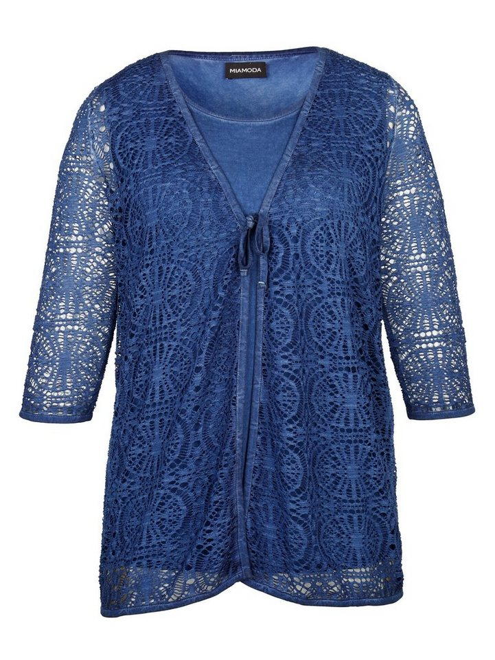 MIAMODA Twinset bestehend aus Top und Jacke in blau