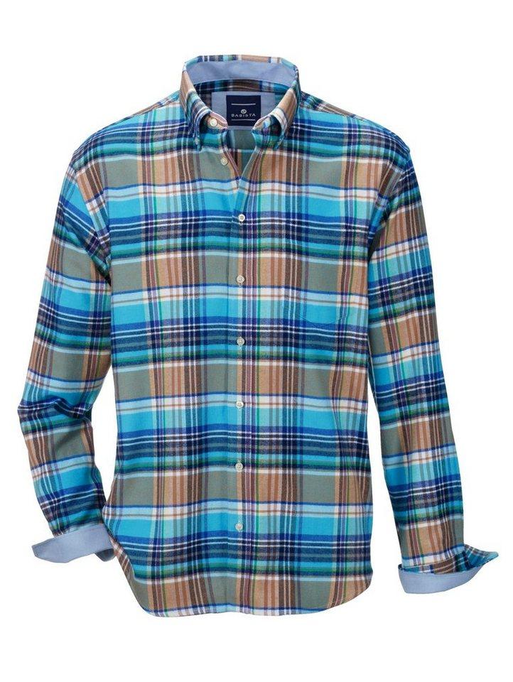 Babista Flanellhemd in wärmender Qualität in türkis-braun