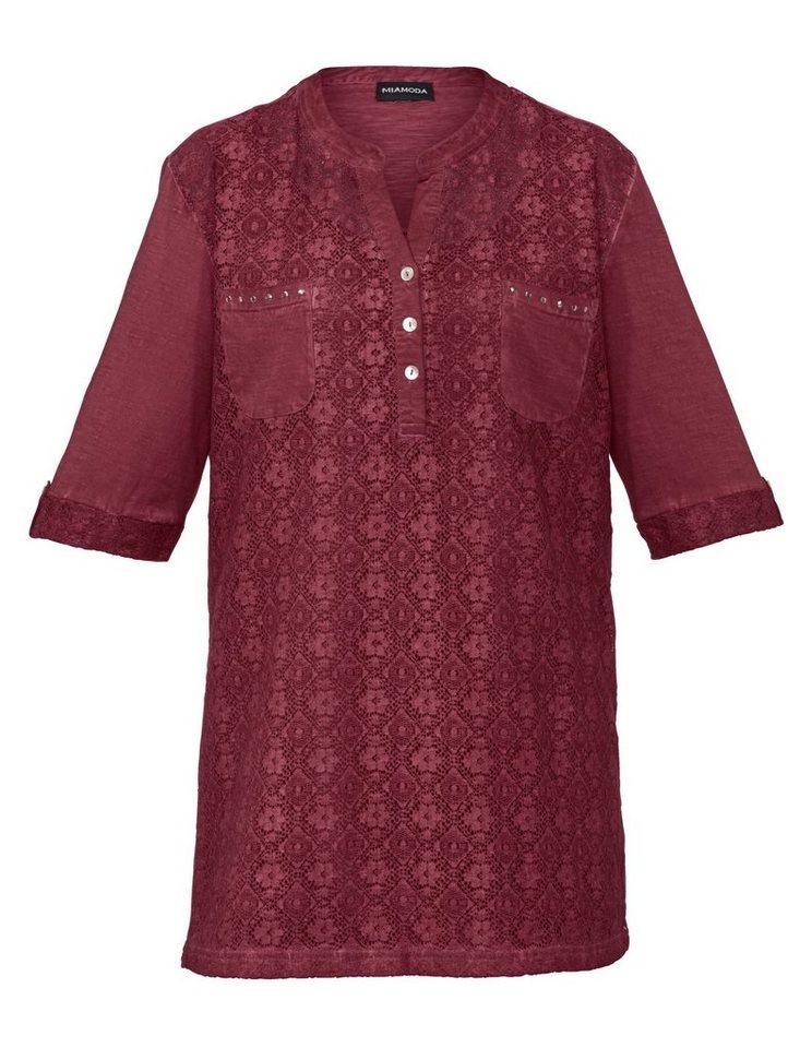 MIAMODA Shirt mit Spitze in bordeaux