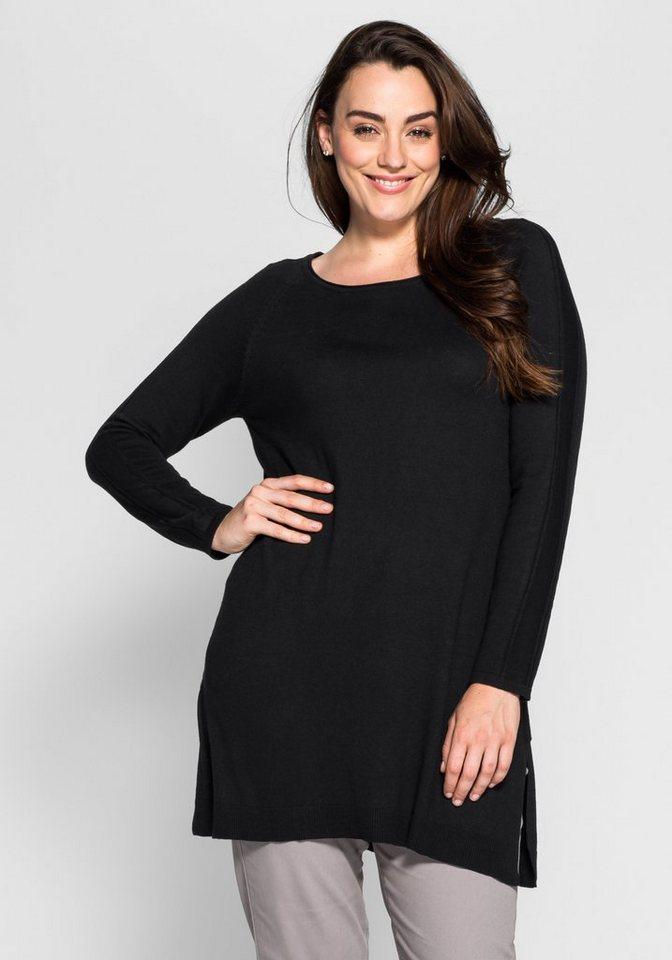 sheego Style Longpullover in schwarz