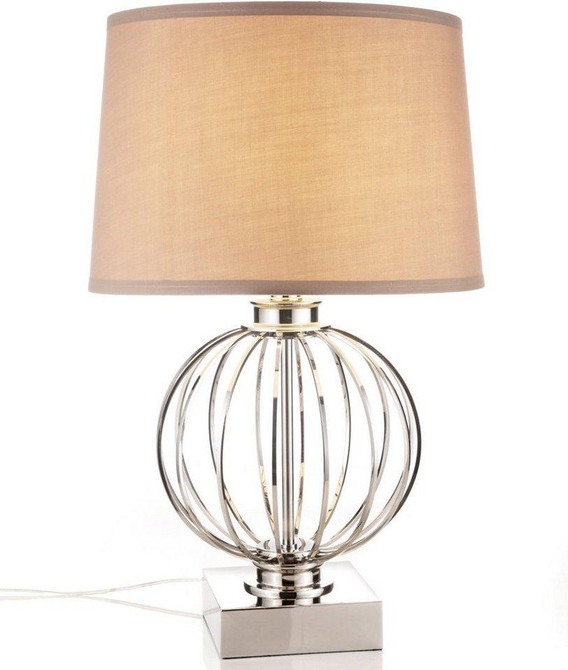 Tischlampe in Textilschirm in Beige, silberfarbener Metallfuß