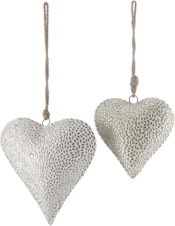 Deko-Hänger Herz, »Mosaik« in weiß/silberfarben