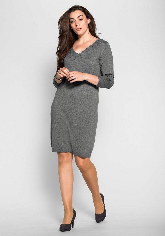 sheego Style Strickkleid mit Ziersteinen in grau melange