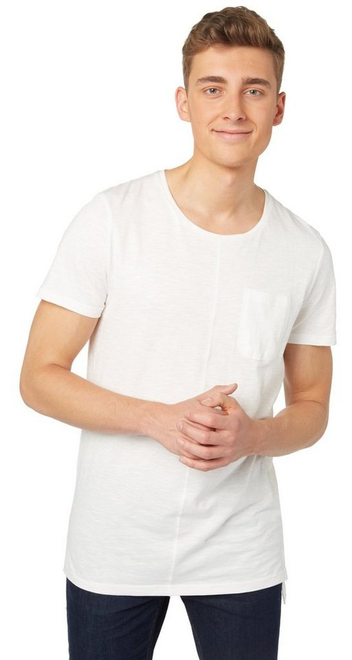 TOM TAILOR DENIM T-Shirt »lässiges Longline-Shirt« in slightly creamy