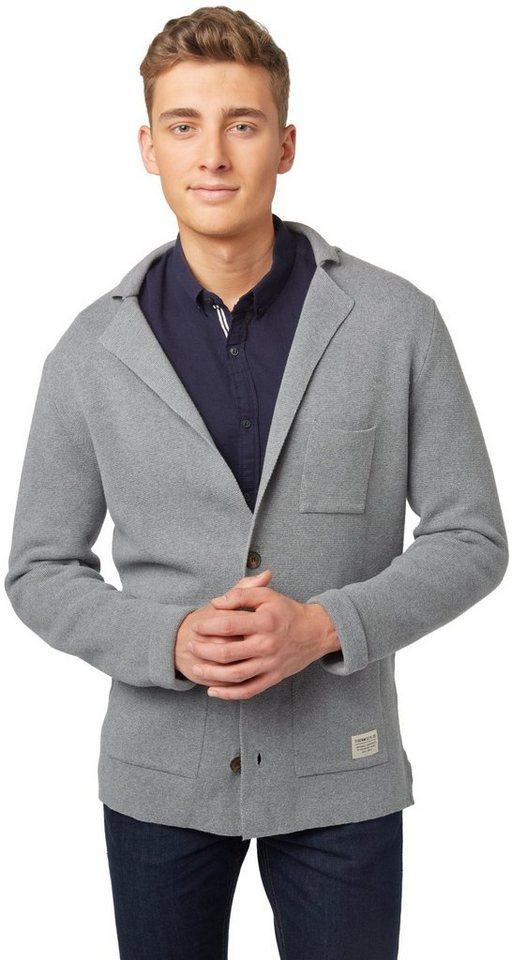 TOM TAILOR DENIM Strickjacke »Strick-Sakko mit Taschen« in heather grey melange