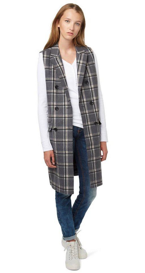 TOM TAILOR DENIM Weste »check wool vest« in light tarmac grey me