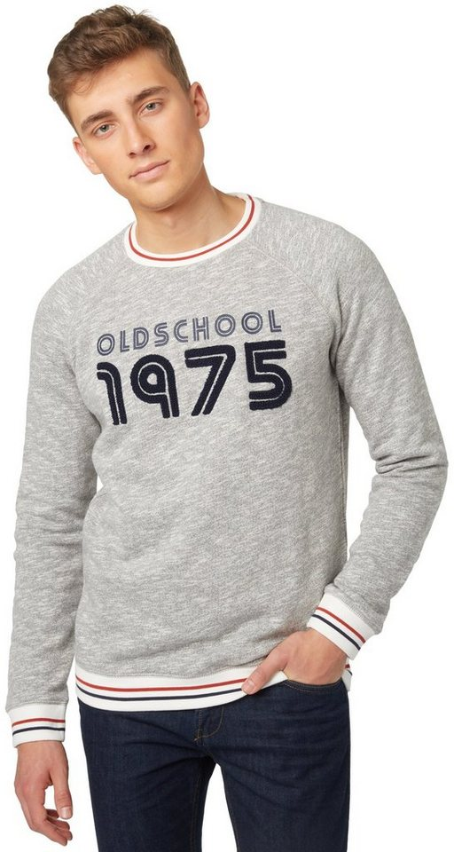TOM TAILOR DENIM Sweatshirt »Melange-Sweatshirt mit Applikation« in somber grey