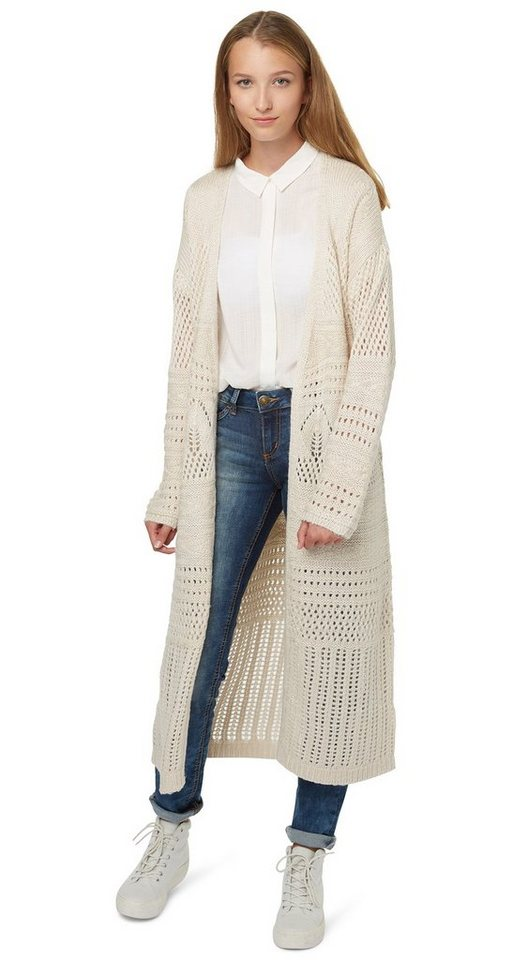 TOM TAILOR DENIM Strickjacke »Ajour-Cardigan in Maxi-Länge« in alabaster beige mela