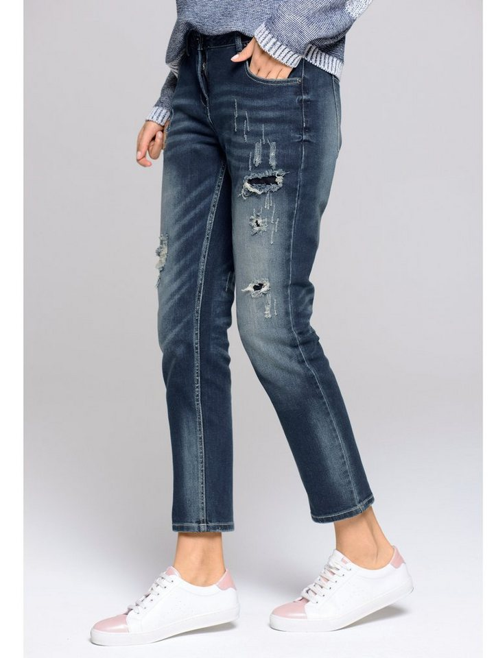 Alba Moda Jeans mit Destroyed-Effekten in denimblue