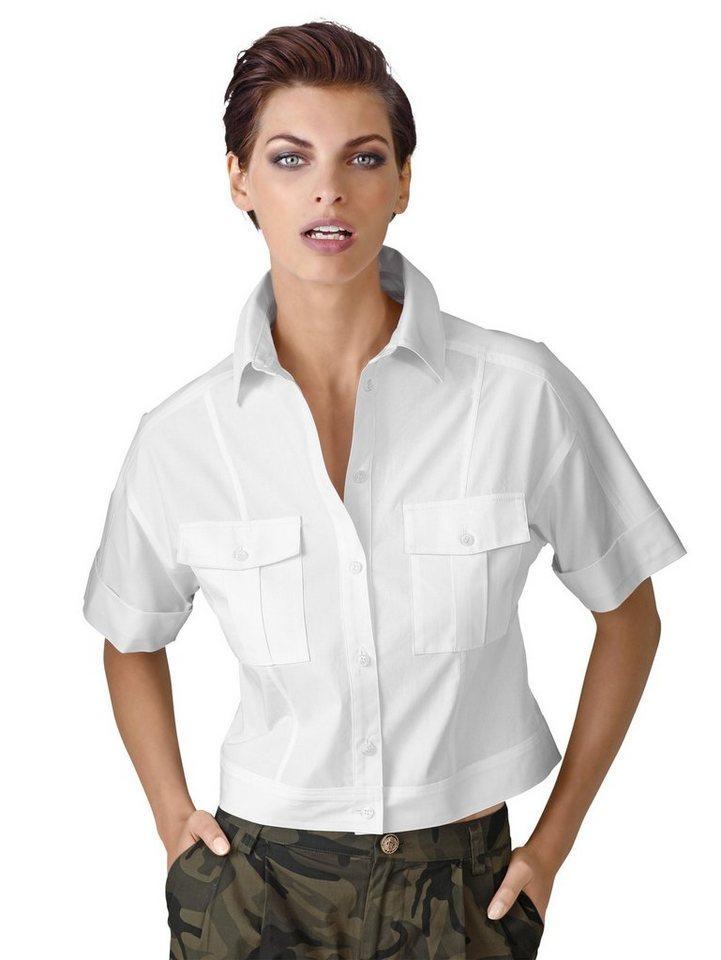 Alba Moda Kurzarmbluse in weiß