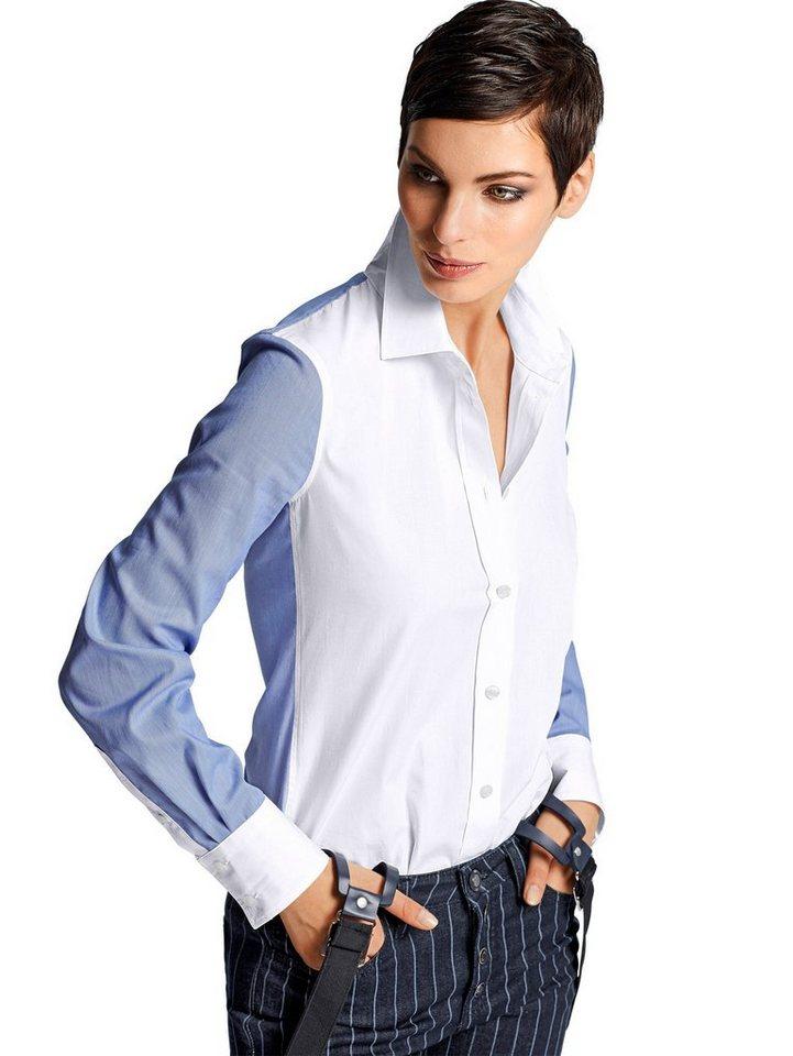 Alba Moda Hemdbluse in weiß/blau