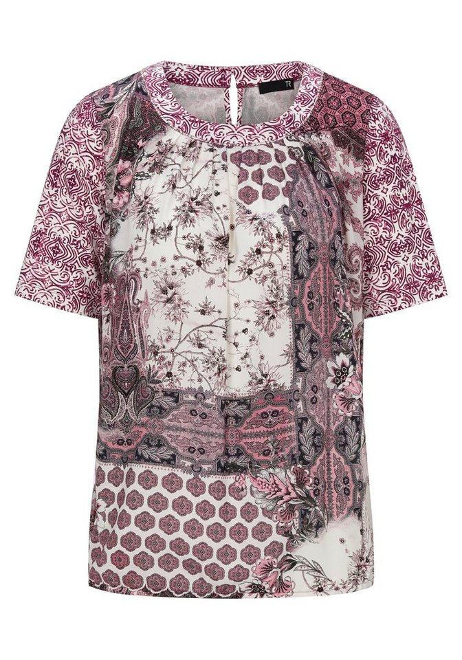 Thomas Rabe Shirt mit Raffungen und Mustermix in PURPUR