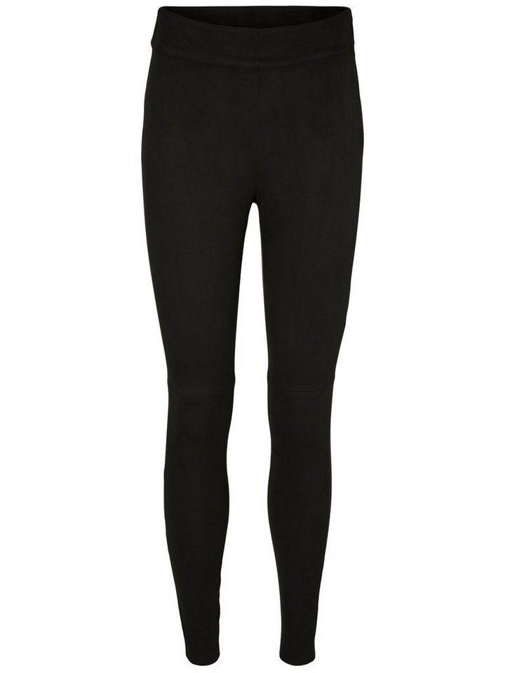 Vero Moda Kunstwildleder HW Hose in Black