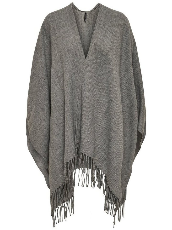 Only Einfarbiger Poncho in Light Grey Melange